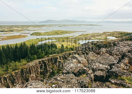 Icelandic rural landscape with rivers, Thingvellir park