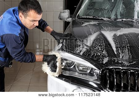 Car Service. Washing Of The Car Big Sponge