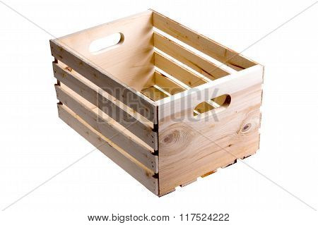 Isolated Empty Wooden Fruit Crate