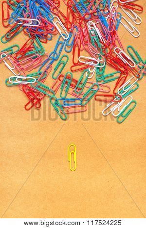 Flat Lay Colorful Paper Clips Arrangement, Concept Of Racism