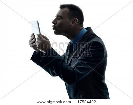 business man digital tablet  isolated