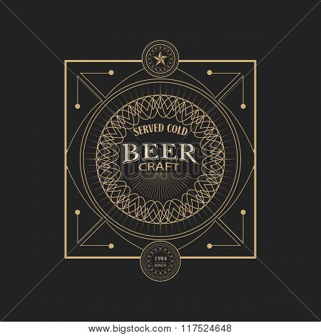 antique frame vintage border craft beer label retro
