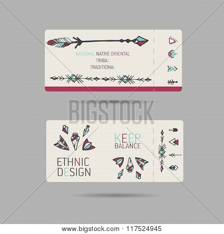 Collection of  tribal boho folk vinatge tickets