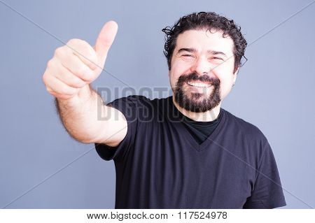 Smiling Bearded Man With Thumb Up