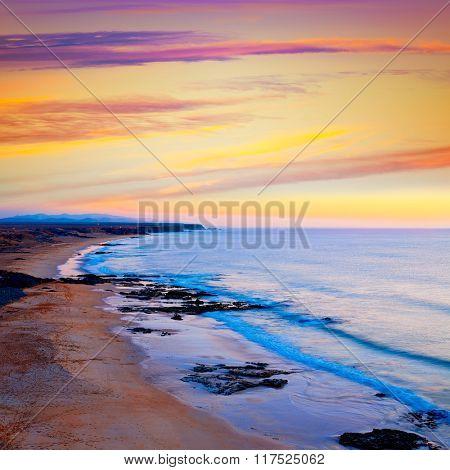 El cotillo beach sunset Fuerteventura at Canary Islands of Spain
