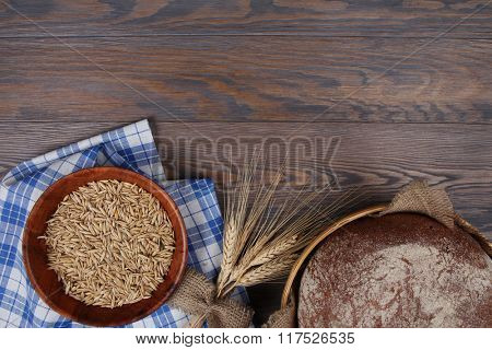 Homemade baked bread, top view, food background