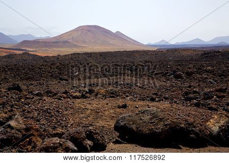 Volcanic  Lanzarote  Spain  Timanfaya  Rock  Sky  Hill And Summer