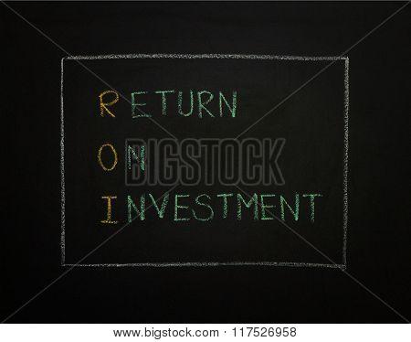 Return On Investment On Black Background.