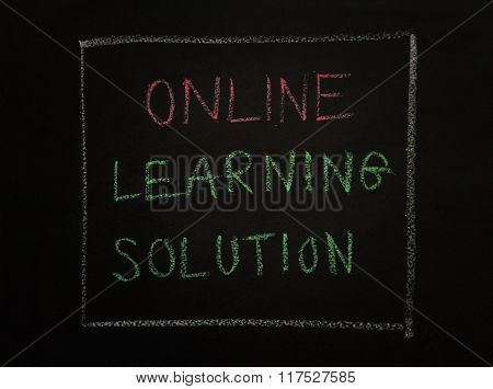 Online Learning Solution, Message On Black Background.