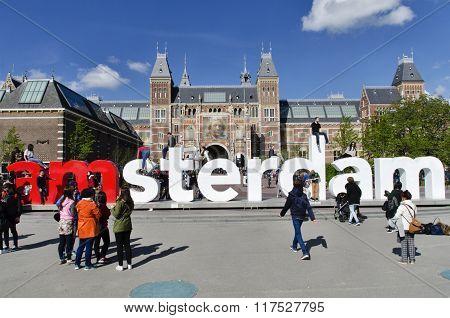Architecture At Museumplein, Rijksmuseum, Facade, Amsterdam, North Holland, Netherlands, Europe