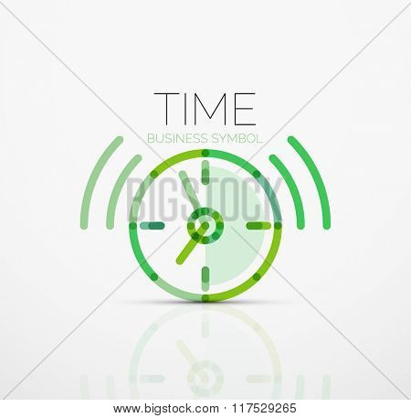 Vector abstract logo idea, time concept or clock business icon. Creative logotype design template