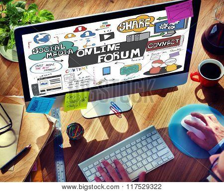 Online Forum DIscussion Communication Connection Concept.
