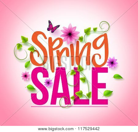 Spring Sale Design with Colorful Flowers, Vines and Leaves