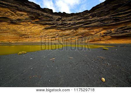 Sky  Water Lanzarote In El Golfo  Spain Musk Rock Stone  And Summer