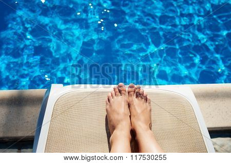 Beautiful Feet And Toes By The Swimming Pool