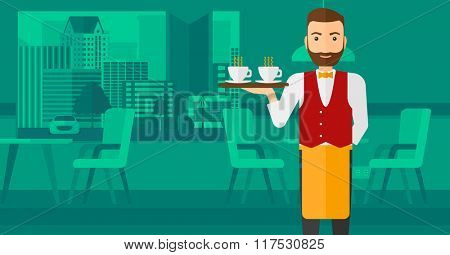 Waiter holding tray with beverages.