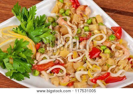 Tasty seafood salad with vegetable