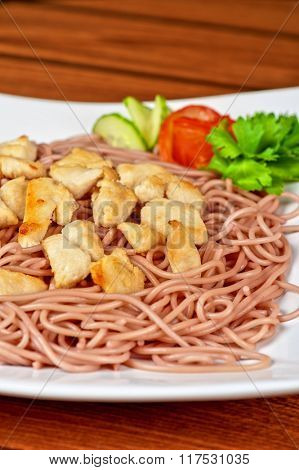 pasta with chicken meat and vegetable