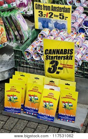 Cannabis And Tulips Sold To The Floating Market Of Amsterdam Holland