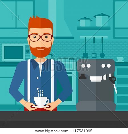 Man making coffee.