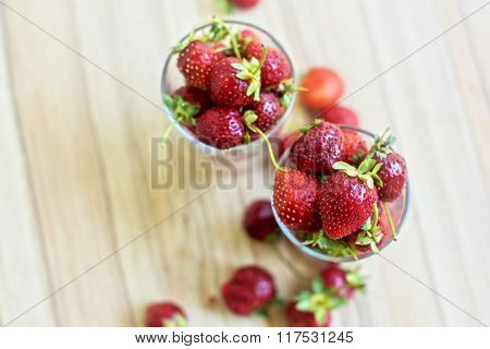 Fresh ripe strawberry in a glass