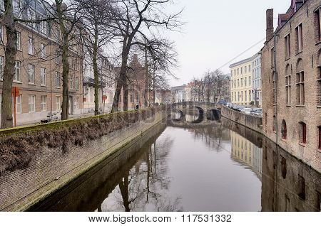 Old Flemish Houses And Canal