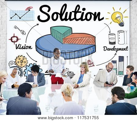 Pie Chart Solution Ideas Development Improvement Concept