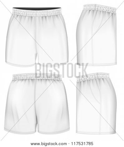 Rugby shorts, front, back and side views. Fully editable handmade mesh. Vector illustration.