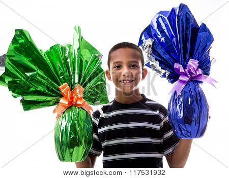 Happy Brazilian children holding Brazilian Easters Egg on white background