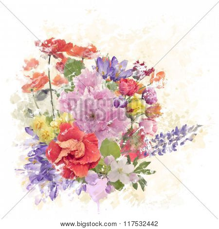 Digital Watercolor Painting of Flowers