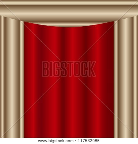 Theater Stage Red Curtains