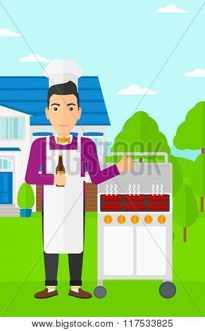 Man preparing barbecue.