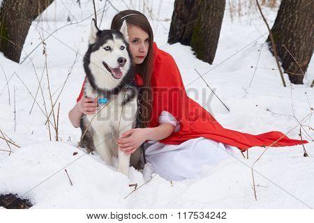 Girl with Husky