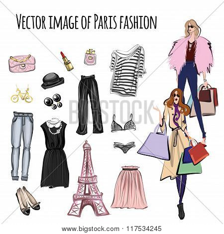 Vector Set With Items In Paris Fashion Style