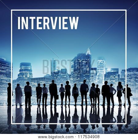 Global Business Team Interview Cityscape Concept