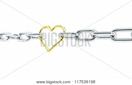 Heart Gold In Chains. 3D Illustrations On A White Background