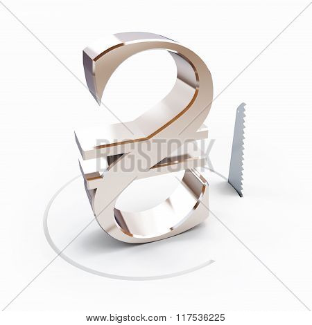 Cutting A Circle With A Hand Saw Hryvnia Sign On A White Background