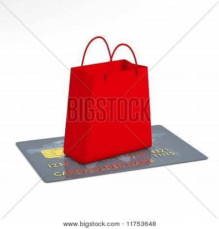 Shopping bag and credit card