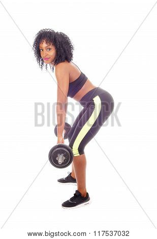 African American Woman Weight Lifting.