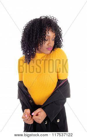 African American Woman In Yellow Sweater.