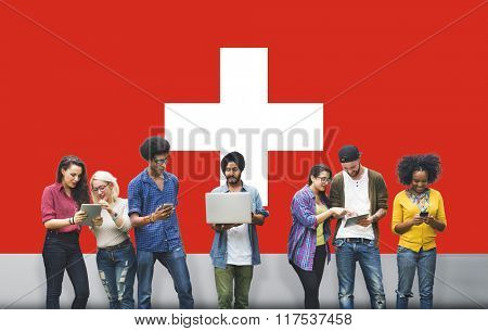 Switzerland National Flag Studying Diversity Students Concept