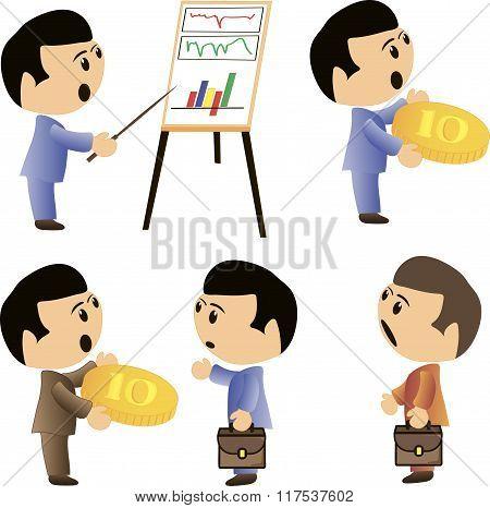 Business man cartoon character- vector