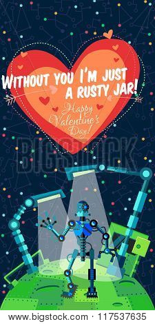 Vector Illustration In Flat Style About Robot. Greeting Card