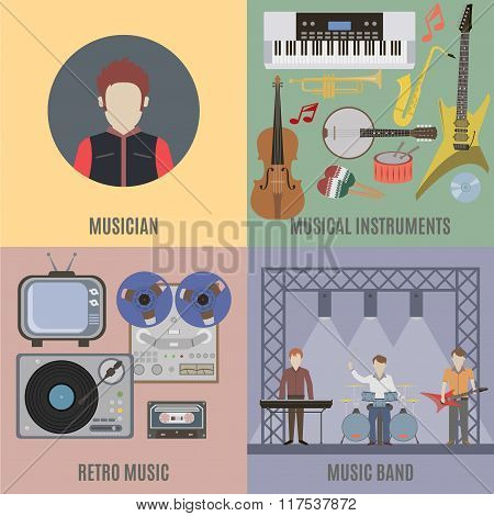 Music Band And Musical Instruments