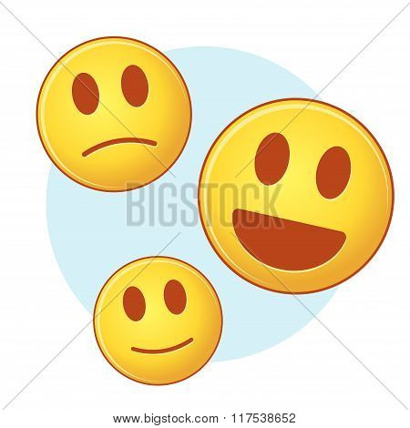 Set Of Vector Emoji On Blue And White Background