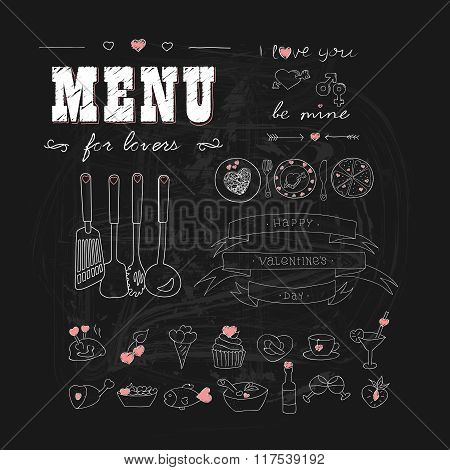 Happy Valentine's day. Menu for lovers. Foods with hearts. Doodle decor elements. Hand drawn.