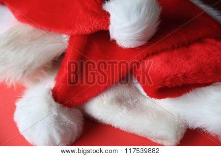 Several Santa Claus hats