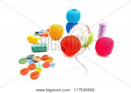 Colored Pins, Thread And Buttons