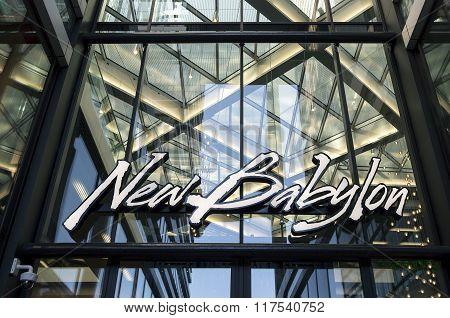 Logo On The Facade Of New Babylon Shopping Center.