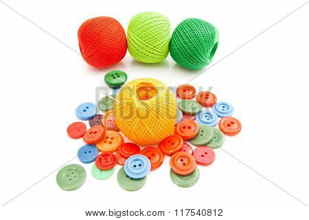 Colorful Buttons, Needle And Tangles Of Thread